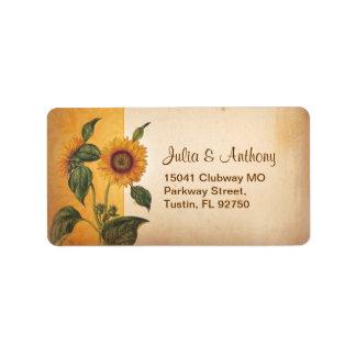 sunflower vintage wedding address labels