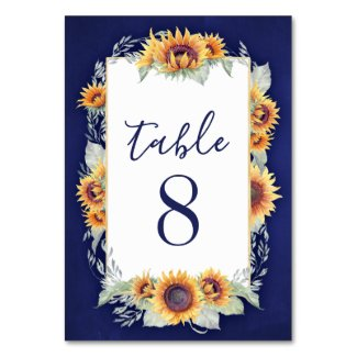 Sunflower Vintage Wedding Table Number Cards