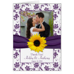 Sunflower Violet Damask Wedding Thank You Card