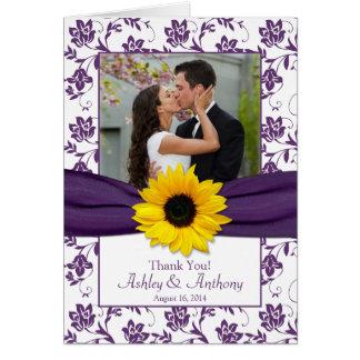 Sunflower Violet Damask Wedding Thank You Card
