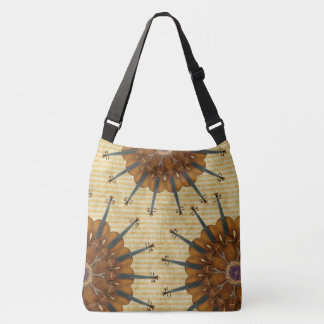 Sunflower Violins Kaleidoscope on Golden Stripes Crossbody Bag