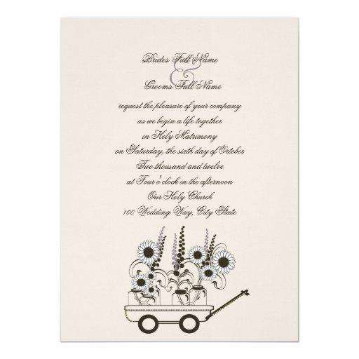 Sunflower Wagon Wedding 5.5x7.5 Paper Invitation Card