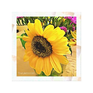 Sunflower wall art, canvas print, yellow, hot pink