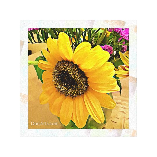 Sunflower Wall Art sunflower wall art, canvas print, yellow, hot pink | zazzle