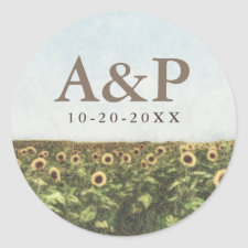 Sunflower Watercolor Country Rustic Wedding Favors Classic Round Sticker