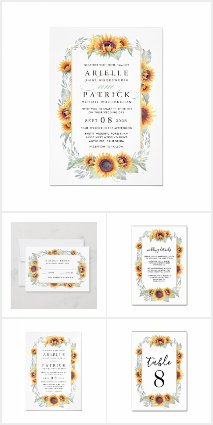 Sunflower Watercolor Country Vintage Wedding Set