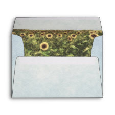 Sunflower Watercolor Country Wedding Envelopes