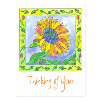 Sunflower Watercolor Flowers Thinking of You Postcard