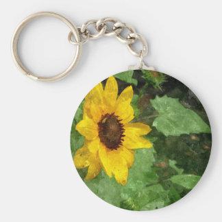 Sunflower Watercolor Keychain