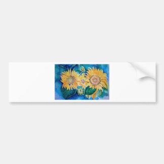 Sunflower watercolor Owl painting. Bumper Sticker