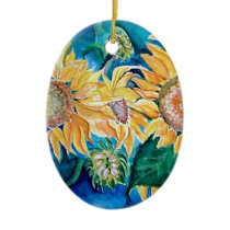 Sunflower watercolor Owl painting. Ceramic Ornament