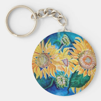Sunflower watercolor Owl painting. Keychain