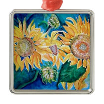 Sunflower watercolor Owl painting. Metal Ornament