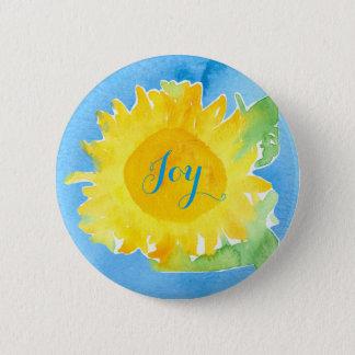 Sunflower Watercolor Painting Joyful Blue Button