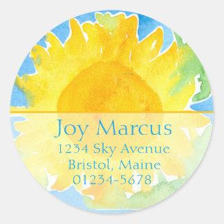 Sunflower Watercolor Painting Return Address Classic Round Sticker