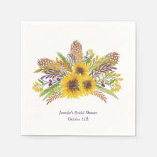Sunflower Watercolor Personalized Napkins