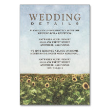 Sunflower Watercolor Reception + Hotel Cards