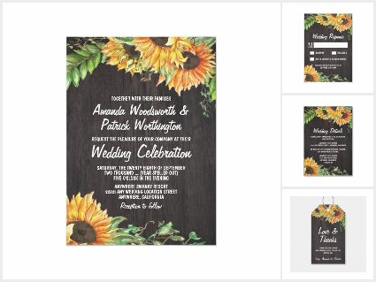 Sunflower Watercolor Wedding Invitations Set