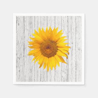 Sunflower & Weathered Wood Vintage Wedding Paper Napkin