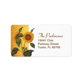 sunflower wedding address label