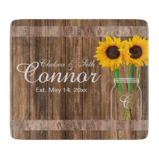 Sunflower Wedding Barn Wood Mason Jar Cutting Board