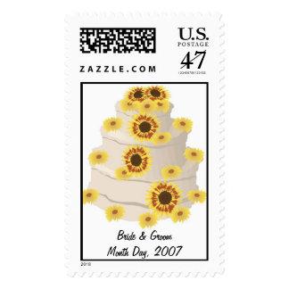 Sunflower Wedding Cake Postage Stamp