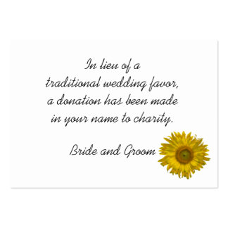 Sunflower Wedding Charity Favor Card Large Business Cards (Pack Of 100)