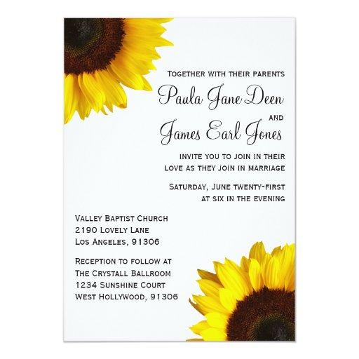 "Sunflower Wedding Invitation 5"" X 7"" Invitation Card"