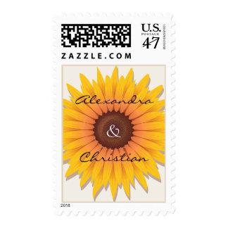 Sunflower Wedding Invitation Announcement Postage