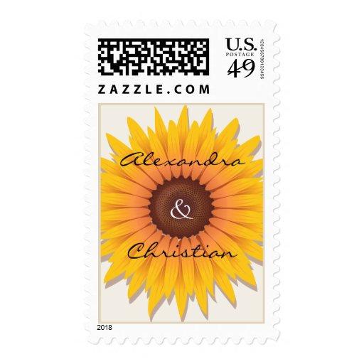 Sunflower Wedding Invitation Announcement Stamp