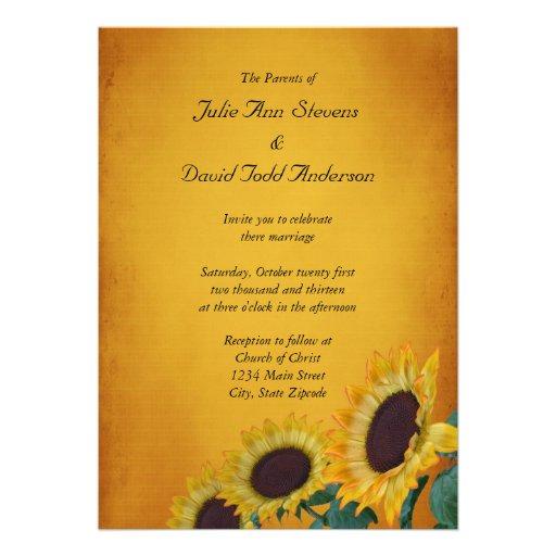 Sunflower Wedding Invitation Card