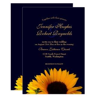 Sunflower Wedding Invitation (Navy Blue)