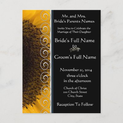 Sunflower Wedding Invitation Post Card by samack