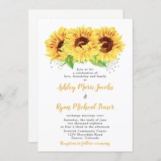 Sunflower Wedding Invitation Watercolor Floral