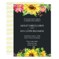 Sunflower wedding invitation with dark background