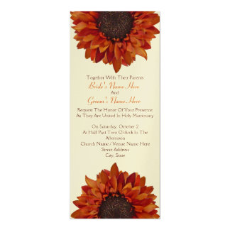 "Sunflower Wedding Invite - Together With Parents 4"" X 9.25"" Invitation Card"