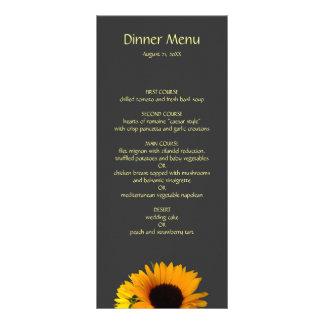 Sunflower Wedding Menu Rack Card Template