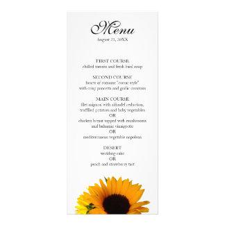 Sunflower Wedding Menu Customized Rack Card
