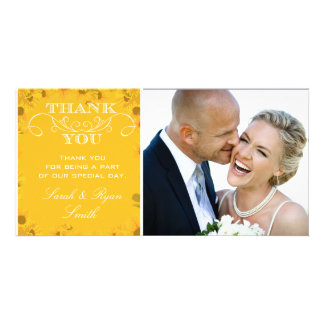 Sunflower Wedding Photo Thank You Cards