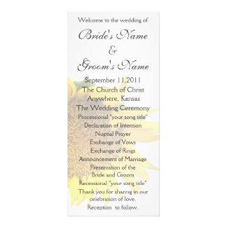 Sunflower Wedding Program 3 Rack Card Design