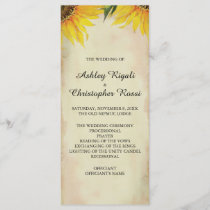 Sunflower Wedding Program - Vintage
