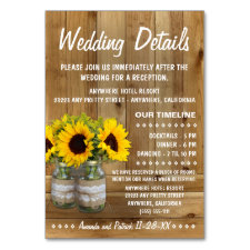 Sunflower Wedding Reception + Accommodation Cards