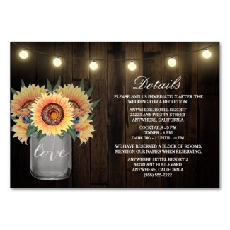 Sunflower Wedding Insert Cards