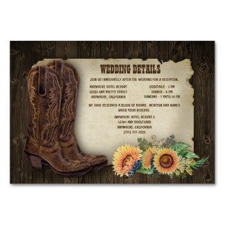 Sunflower Wedding Insert Cards