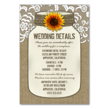 Sunflower Wedding Reception Accommodation Cards