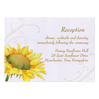 Sunflower Wedding Reception Enclosure (3.5x2.5) Large Business Cards (Pack Of 100)