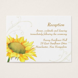 Sunflower Wedding Reception Enclosure Business Card