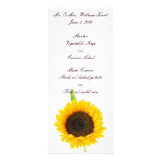 Sunflower Wedding Reception Menu