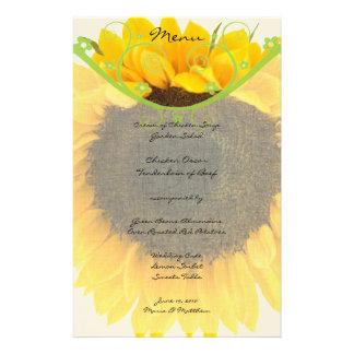 Sunflower Wedding Reception or Anytime Menu