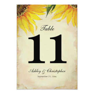 Sunflower Wedding Reception Table Number Eleven Card